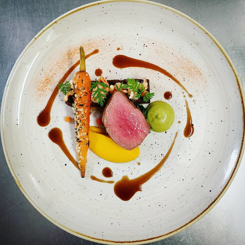 Rare Breed Beef - Sirloin and Shin - Beef Fat Carrot, Tarragon Emulsion, Carrot Purée, Puffed Potato, Fermented Carrot, Chervil Crumb.