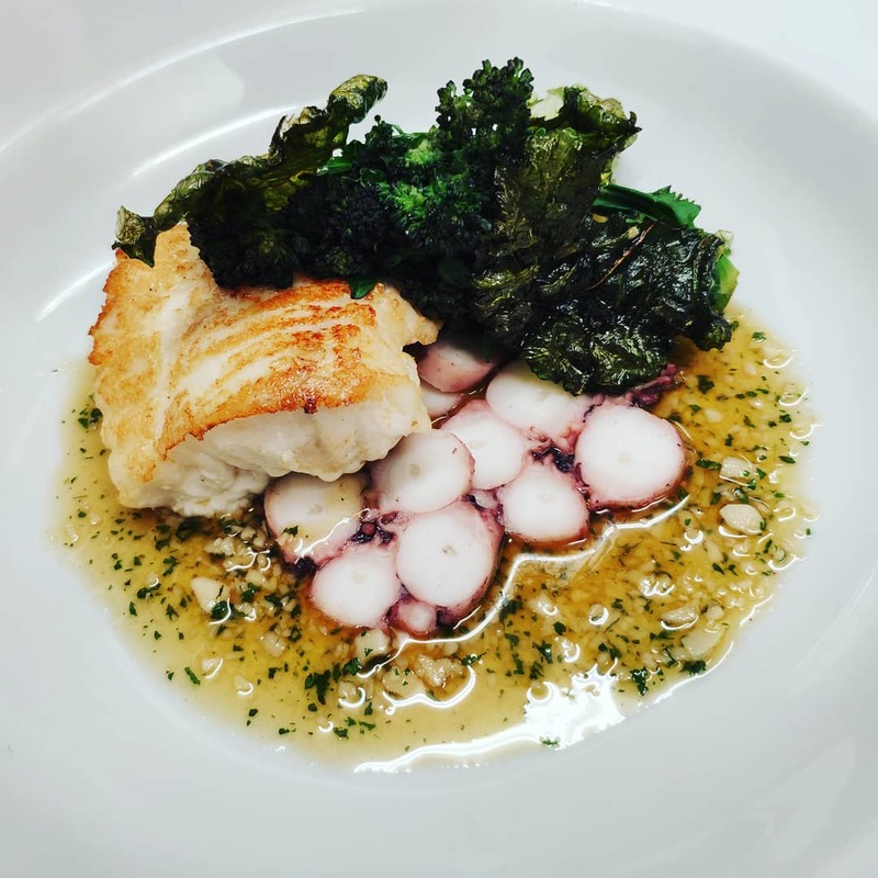 Peterhead Rock Turbot, Octopus, Falkland Purple Sprouting Broccoli, Almond Brown Butter