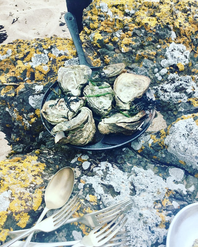Aebelskiver oysters, seaweeds, single malt flambé on fire :fire: