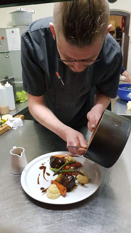 Plating the beef cheek