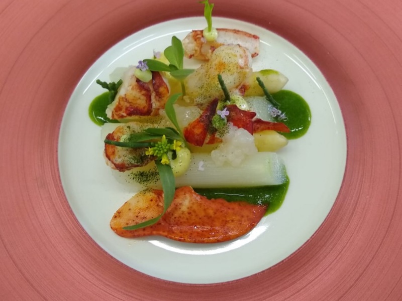 "European Lobster, White Asparagus, Green ""Gazpacho"" of Wild Garlic, Ginger, Granny Smith and Vadouvan."