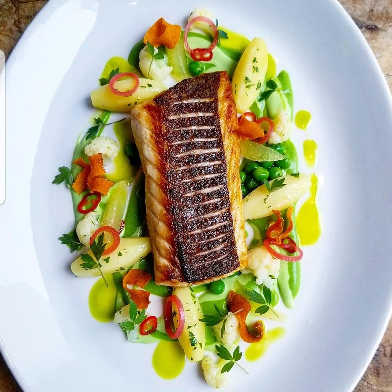 Snapper, peas, cauliflower and turned potatoes