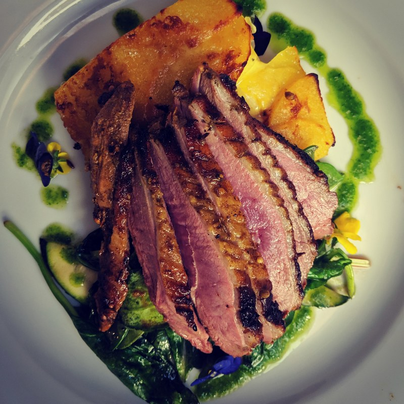 Bombay roasted Barbary Duck breast with curried Dauphinoise potatoes and spinach. Sold a few of these tonight.