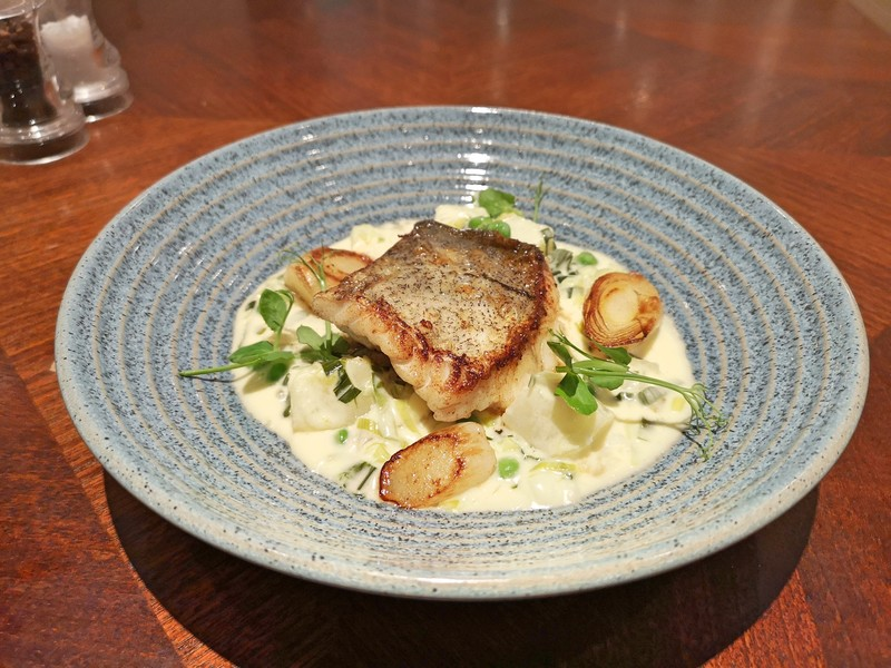 Duo of haddock, pan fried with a rich smoked haddock chowder underneath.