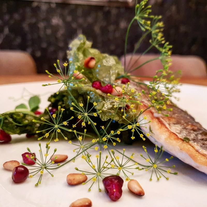 Sea bass, seaweed , pomagranate, fennel flowers #seabass #marekjani #fish #pomegranate #flowers #fennel #homecooking #foodart
