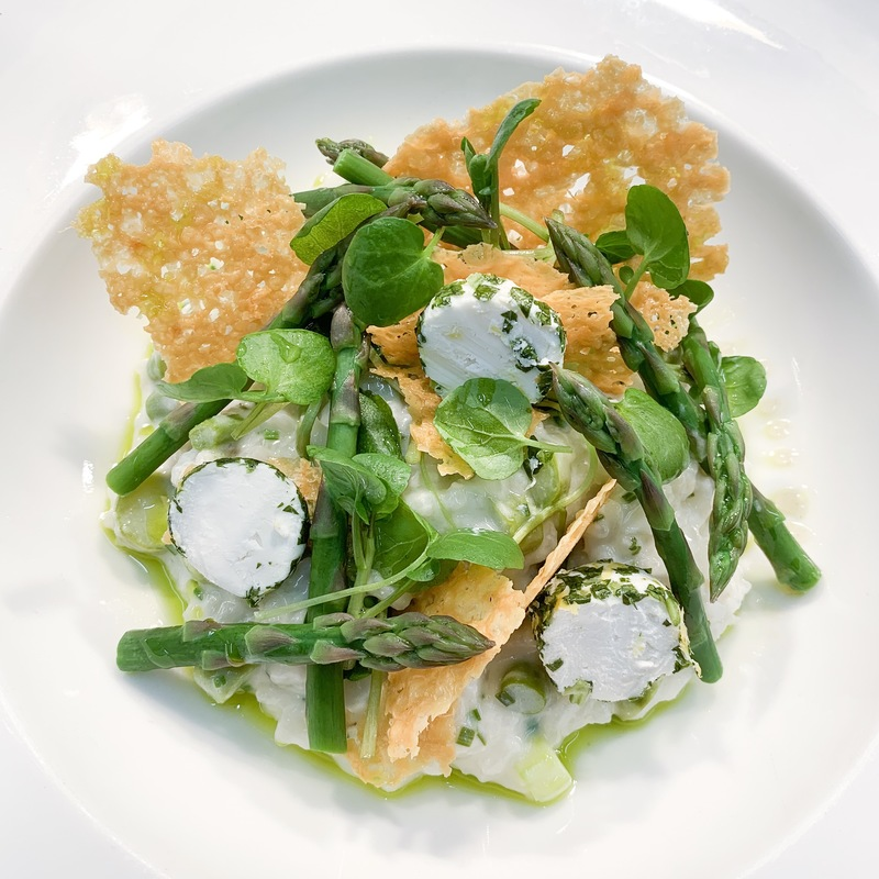 Devon volcombe goat cheese, Cornish asparagus, Parmesan risotto, confit garlic, watercress.. A simple clean summer lunch