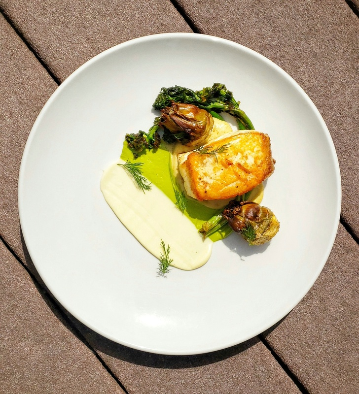Alaskan Halibut:black_small_square:︎Ramp Emulsion:black_small_square:︎Pan Seared Rapini:black_small_square:︎Confit Garlic, Lemon and Thyme Emulsion:black_small_square:︎Jalapeno Cornbread Puree:black_small_square:︎Roasted Baby Artichoke Hearts
