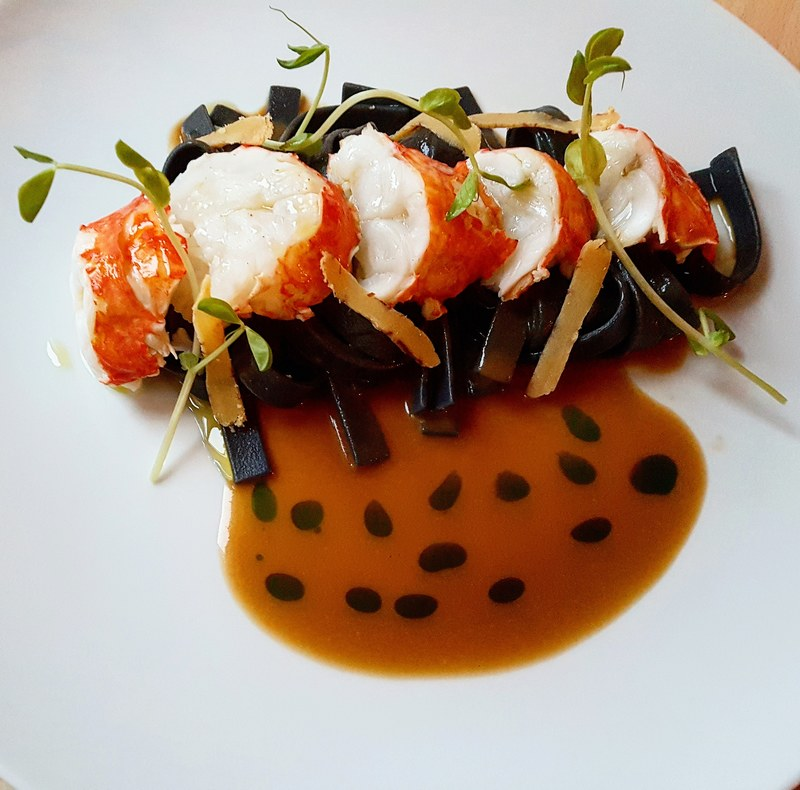Butter poached lobster•cuttlefish ink tagliatelle•bottarga•lobster bisque•parsley oil...