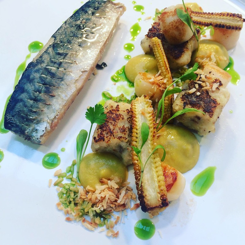 Grilled mackerel, baby scallops, coconut gnocchi, roasted corn, lime oil
