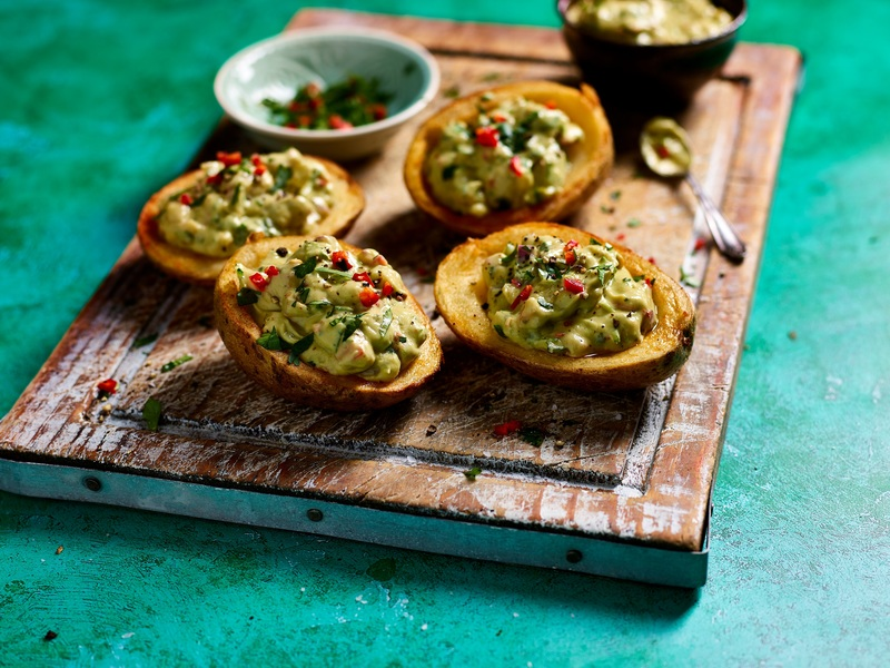 Loaded Vegan guacamole Potato Skins