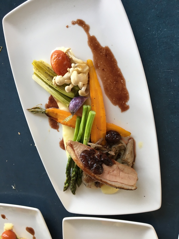 Seared duck with garden vegetables