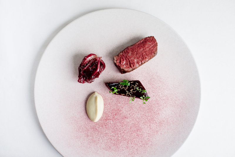 Highland Wagyu goose skirt, beetroot, peat smoked bone marrow