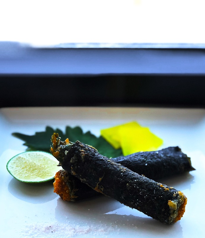 West coast uni oba roll very lightly battered and fried | pink salt and pickles