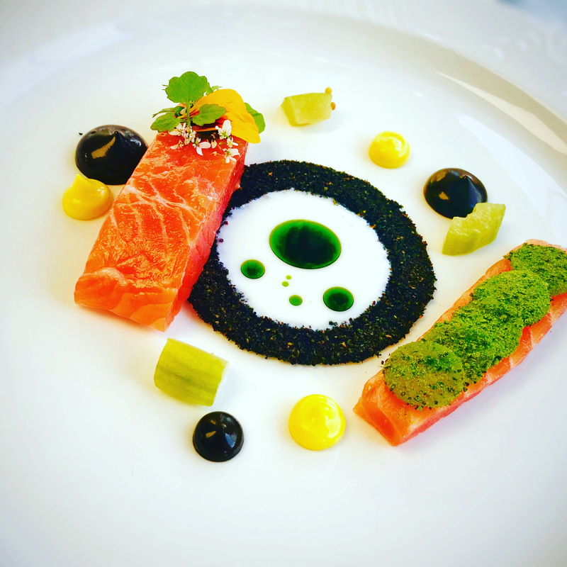 Cured Sea trout, black garlic aioli, kohlrabi, buttermilk, seaweed and herbs, saffron aioli and pickled cucumber
