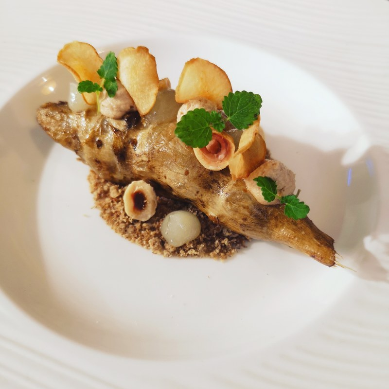The reworked Jerusalem artichoke, hazelnut, chilli, lime www.theshorerestaurant.uk