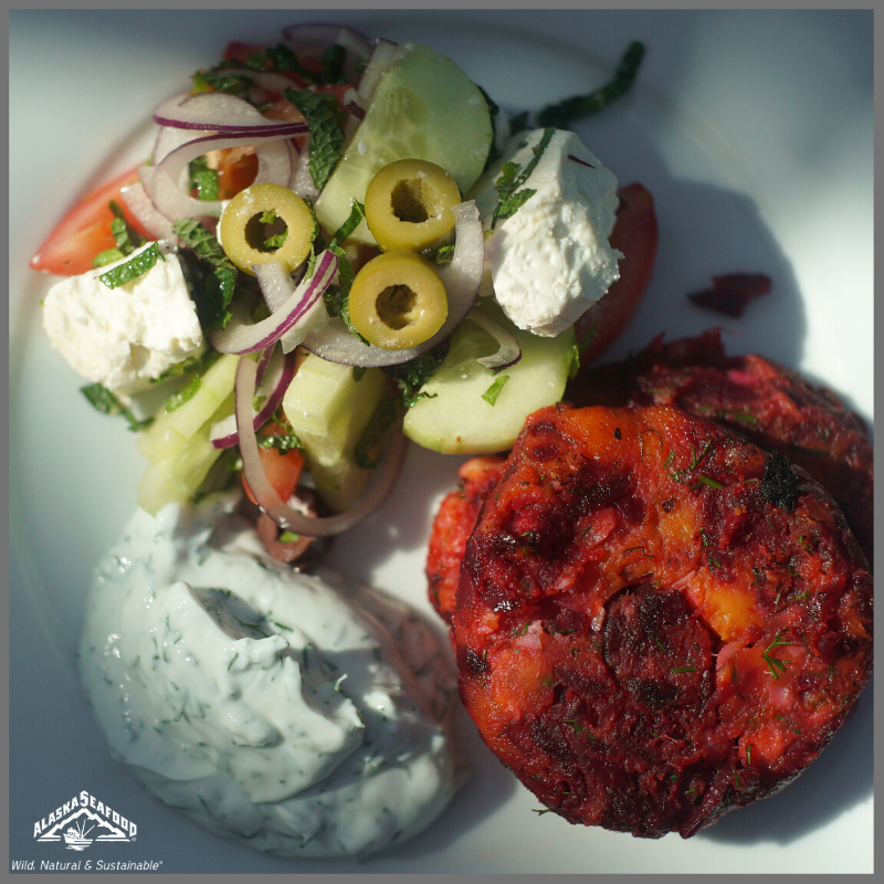 Alaska Pollock and Sweet Potato and Beetroot Fishcakes with Lemon Yoghurt and Greek Salad