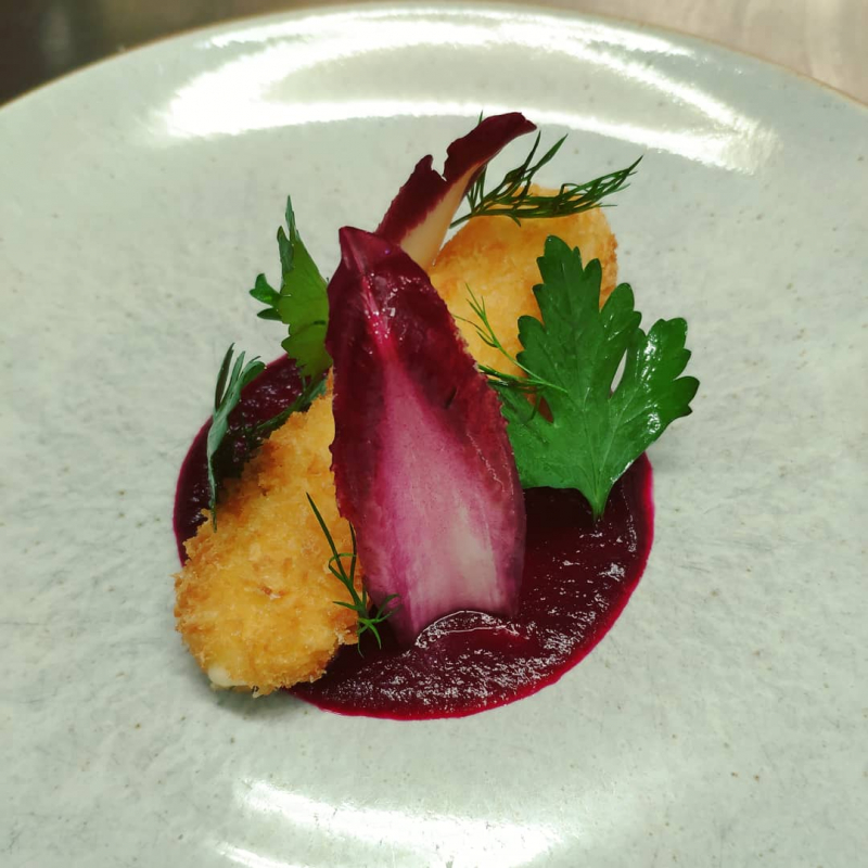 Breaded Morangie Brie, Beetroot, Red Chicory