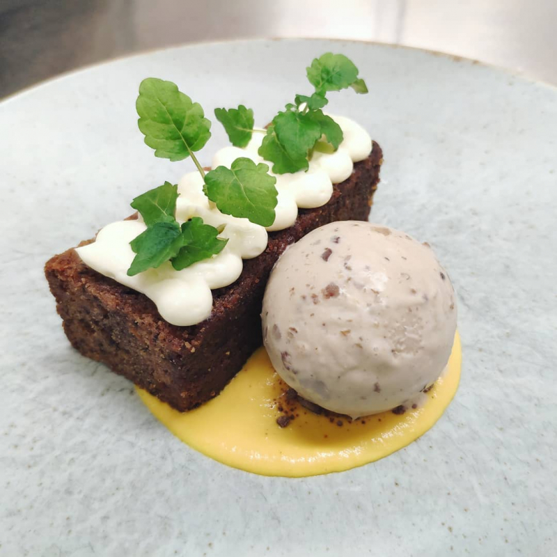 Pittormie Carrot Cake, Walnut Ice Cream, Whipped Cream Cheese