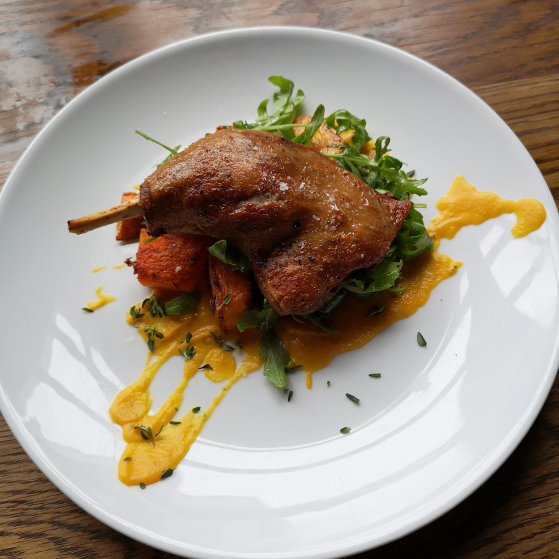 Confit duck leg. Pumpkin. Ginger. Rocket