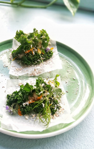Gently grilled kale, king oyster mushroom and mushroom crème finished with dried shiitake mushrooms and herbs from our small piece of land.