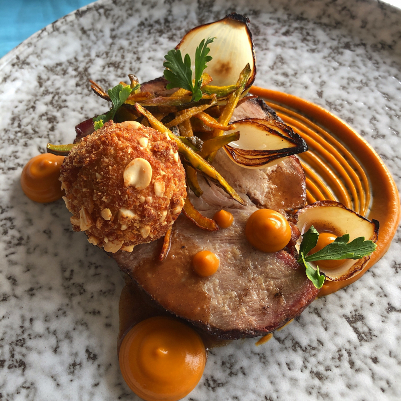 Honey and Soy Slow Roasted Pork Neck/Black Bean and Pumpkin Purée/Spiced Fried Pumpkin Skins/Peanut Crumbed Quails Egg/Charred Onions/Five Spice Pork Sauce