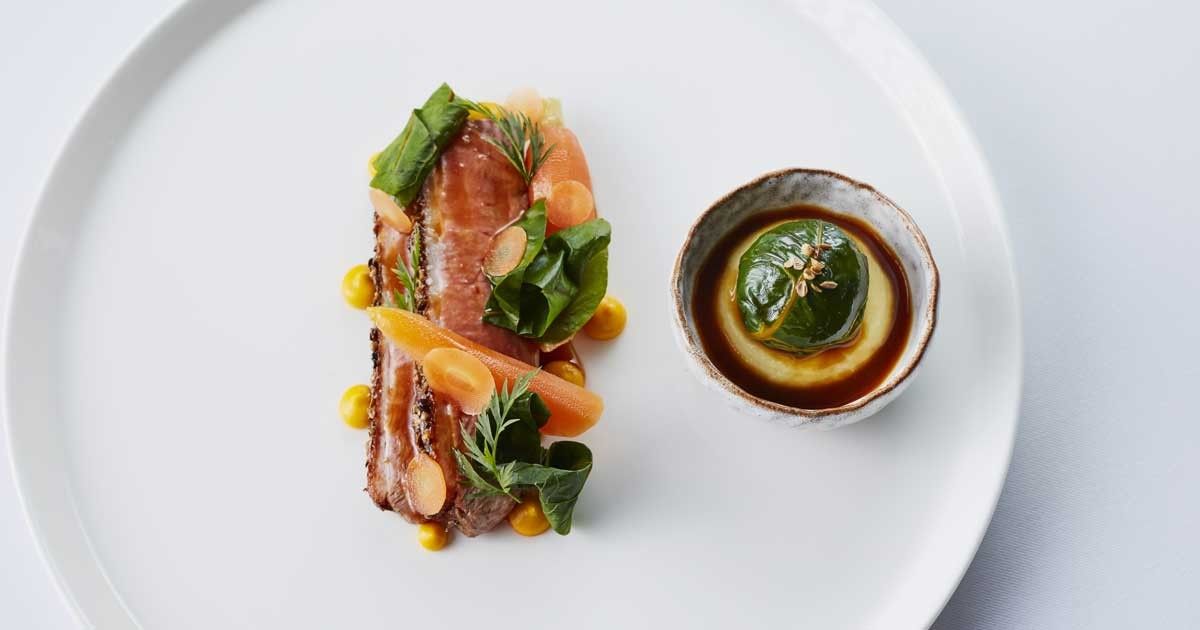 Honey Glaze Duck Breast with Szechuan Pepper, Carrot, Ginger and Chou Farci