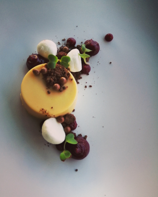 Baked white chocolate and yogurt PC, black berry and rosemary fluid gel, chocolate soil, meringue