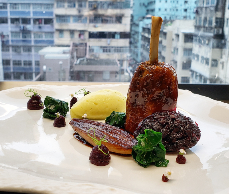 confit duck leg, braised red cabbage, hibiscus, pomme puree