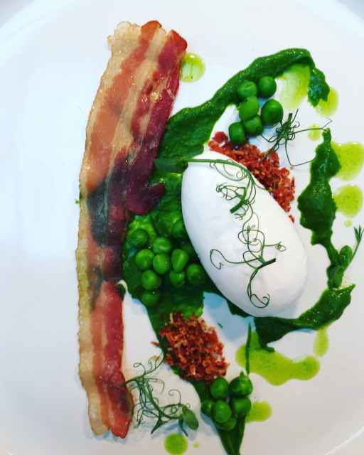 Spring pea, jack daniel cured pancetta, duck egg