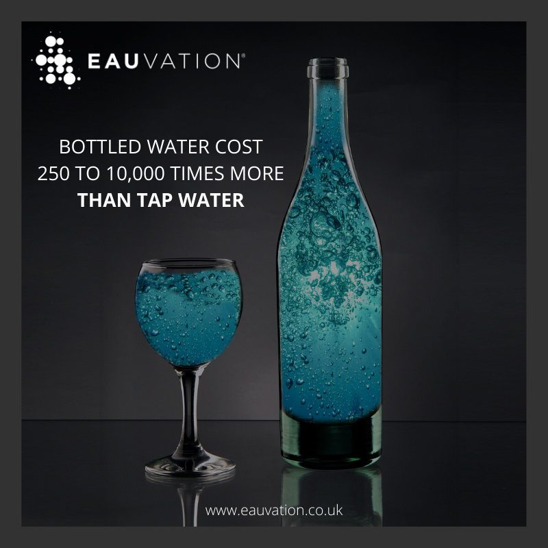 Compared to buying bottled mineral water at a cost of more than 50p per bottle, EauVation filtered water systems offer a very real opportunity for saving cost. As little as 5p per litre.