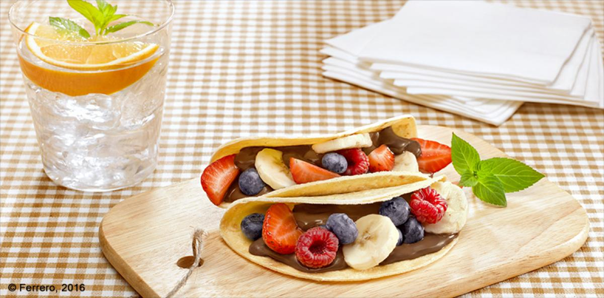 Breakfast Tacos with nutella and Fruit