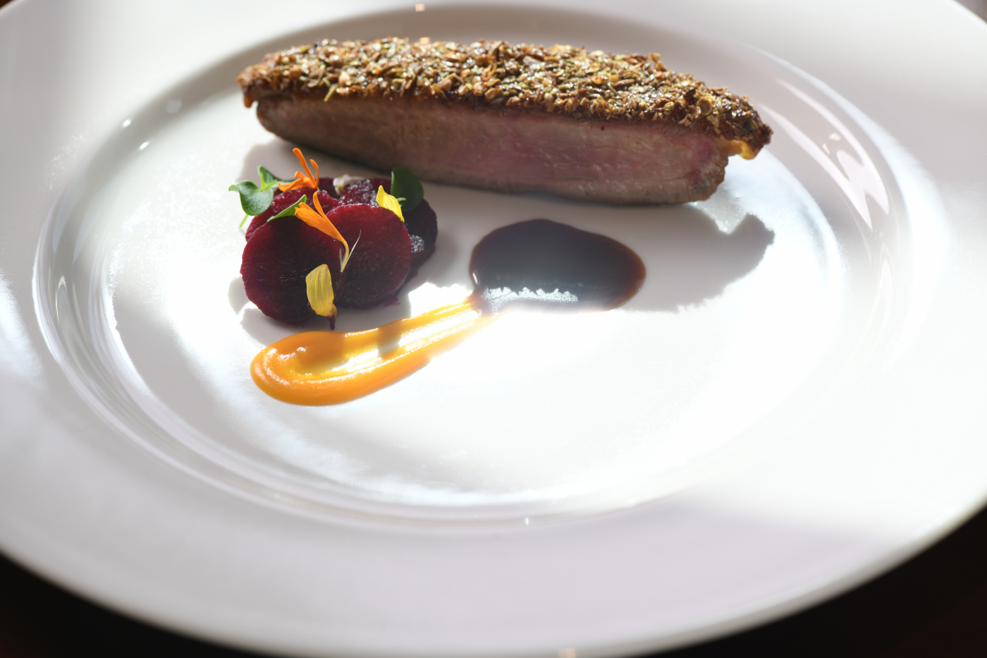 Muscovy Duck Breast Pan Roasted with Game Spice Crust Pickled Beet Root Butternut Puree Blackberry Jus