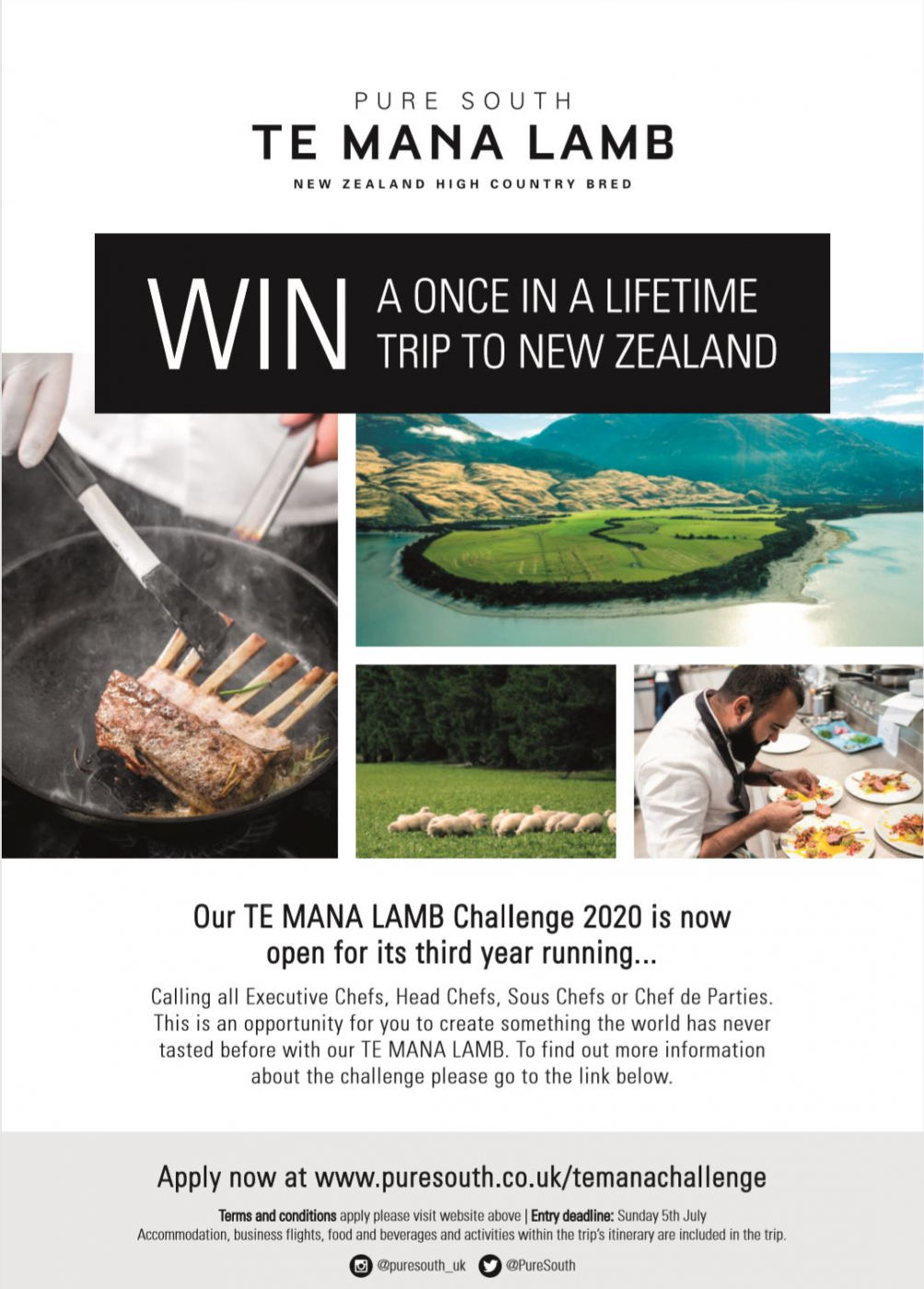 Our TE MANA LAMB Challenge 2020 is back for it's third year running. You could be in with a chance of winning an all expenses trip out to New Zealand head over to our http://puresouth.co.uk/temanachallenge page to find out more!!