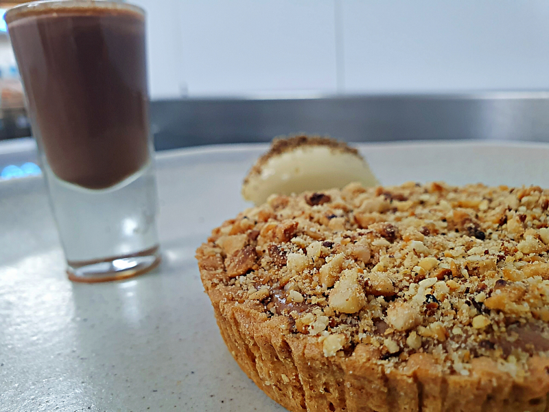 Espresso, Chocolate & Hazelnut Tart - White Chocolate Mousse and a Milk Chocolate Bailey's Shot