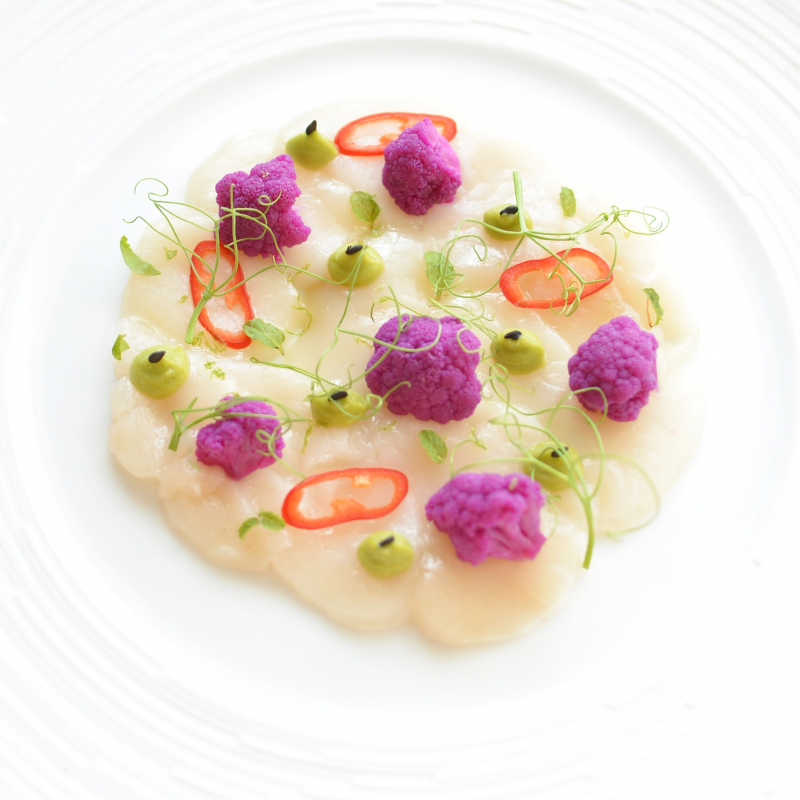 Scallops Ceviche,  Cauliflower Marinated in Fermented Beet Juice, Avocado,  Chilli