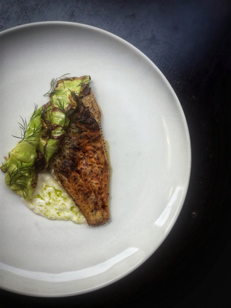 Dover sole, spring cabbage roasted in embers, dill and our own sour cream split with fermented lemon and soy.