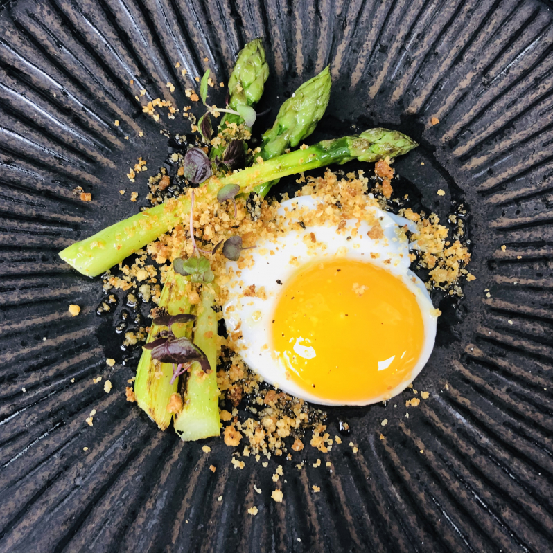 English asparagus ,truffle crumb , fried duck egg, truffle oil