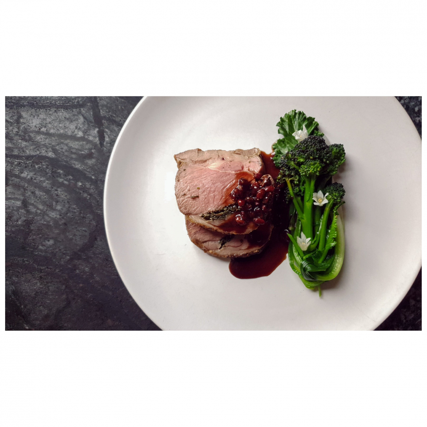 Lamb Shoulder, Barberry Red Wine Sauce, Purple Sprouting Broccoli & Wild Leeks.