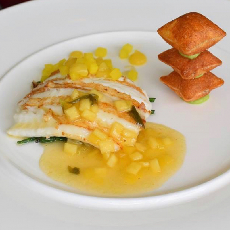 Grilled Fillet of Brill Fish, Warm Vinaigrette with Pickled Green Mango, Sea Lettuce, Potato Puffs.