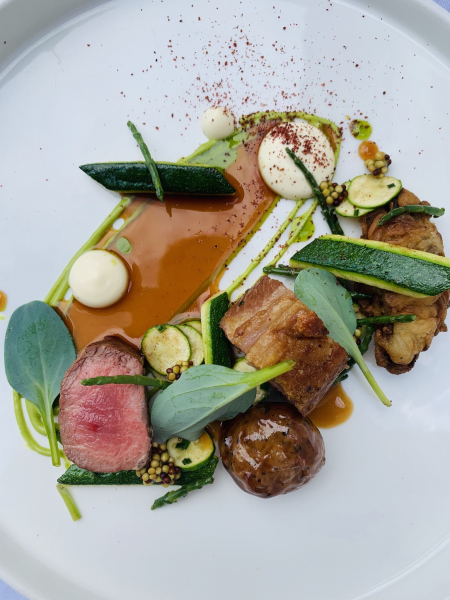 Lamb, courgette, sheep's cheese, sea herbs