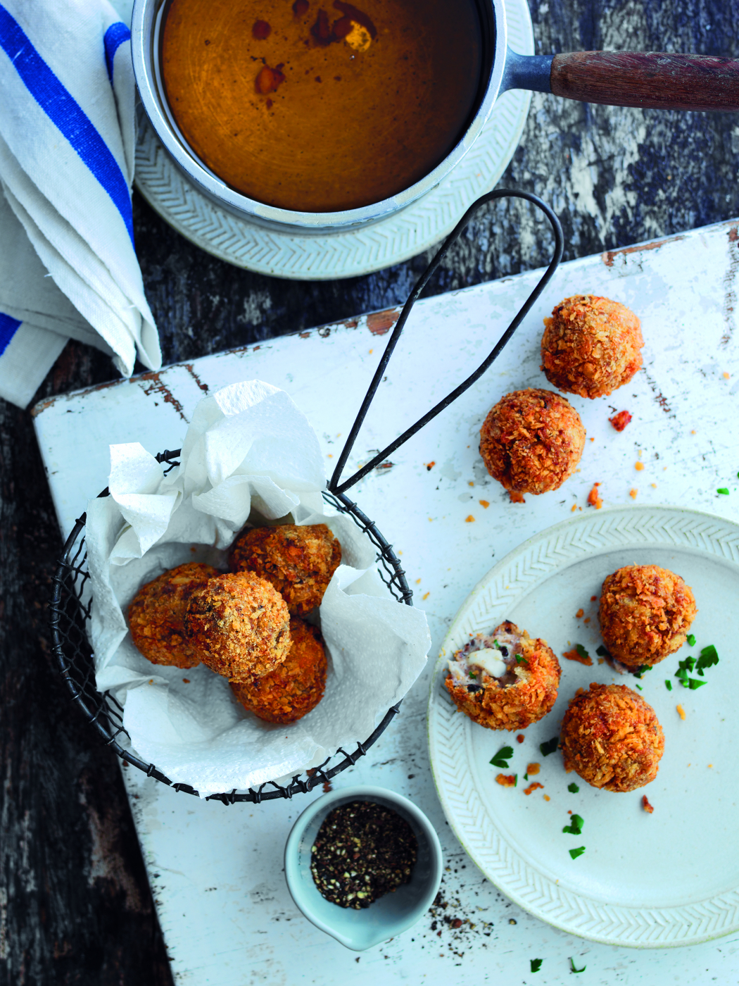 Norwegian haddock and black pudding croquetas