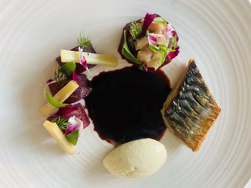 Mackerel/ponzu /beetroot /mackerel tartar