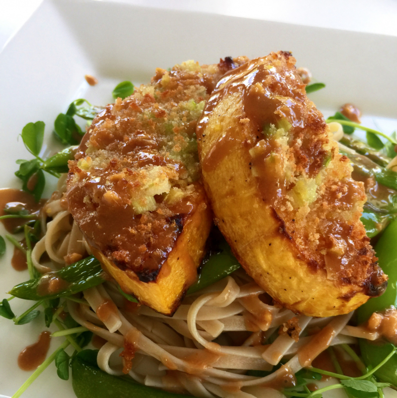 Ginger crusted butternut squash with a sesame peanut vinaigrette, snow peas, pea shoots and rice noodles. #vegan