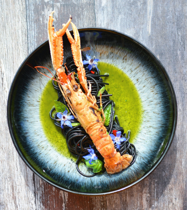 Langoustine with Squid Ink Spaghetti, Herbs Oil