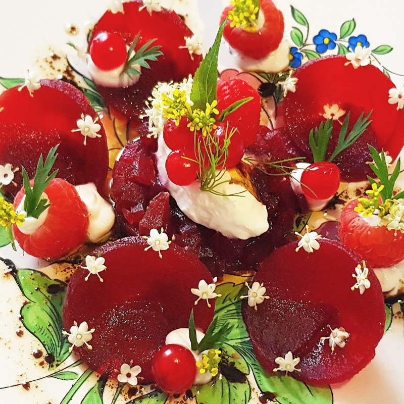 PICKLED BEETROOT • elderflowers • goat cream cheese • raspberries & red currant • liquorice • olive oil