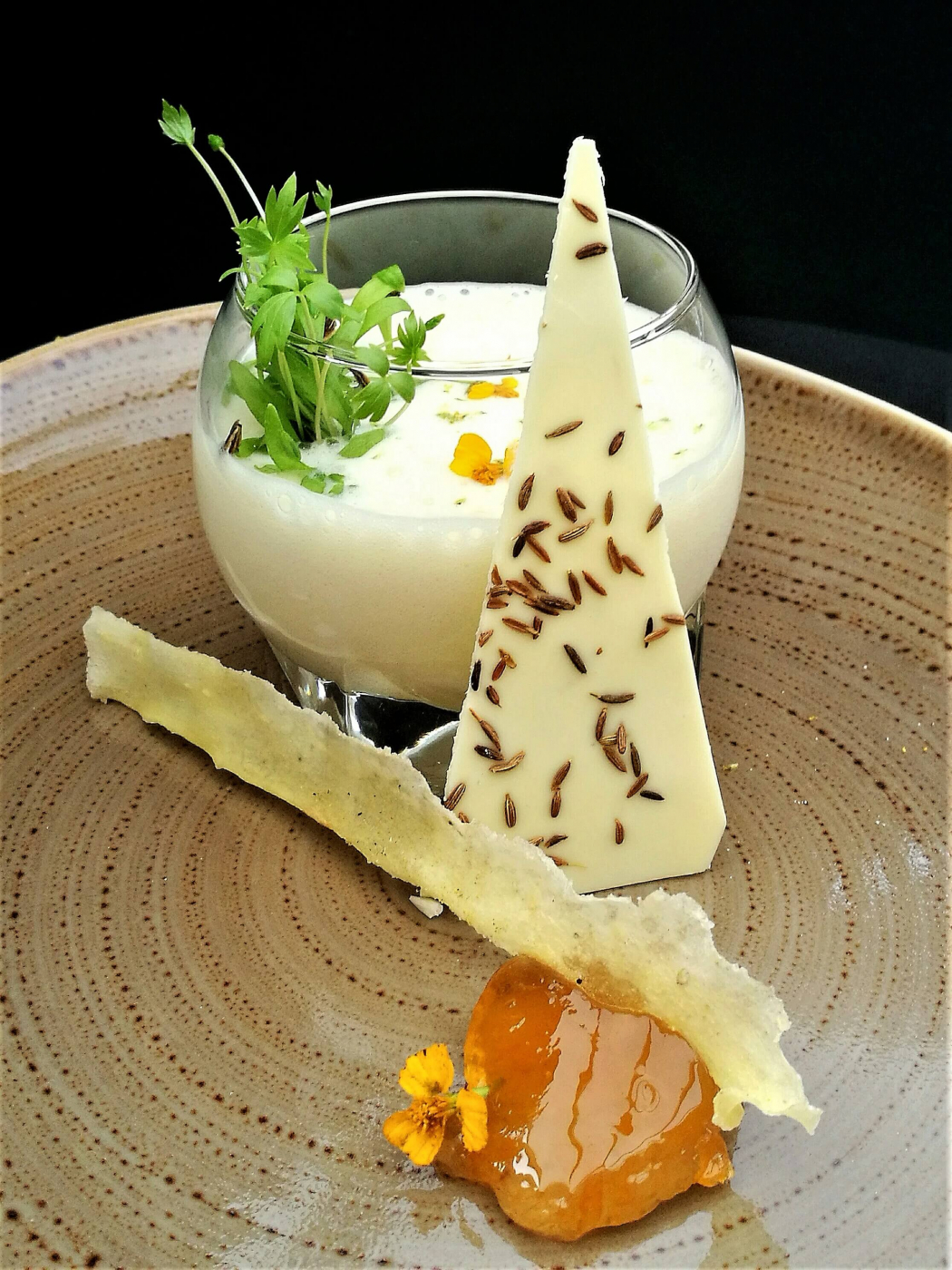 White chocolate mousse recipe, parsnip crisp, white chocolate and cumin shard, and apricot jam - 1