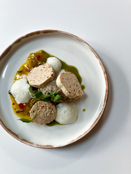 Free range chicken mousse/gooseberry & cucumber relish/chestnut mushroom puree/thyme foam