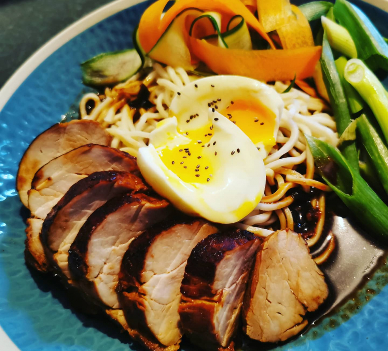 Marinated pork ramen with a miso,mirim and soy broth