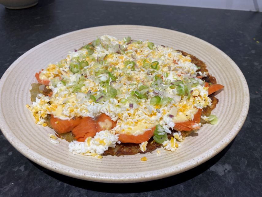 Rosti Potato with Smoked Alaska Salmon, Grated Eggs and Horseradish Emulsion