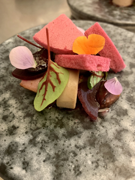 Foie royale, cherries, beetroot and tonka bean
